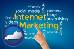 kentucky map icon and internet marketing phrases