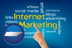 tennessee map icon and internet marketing phrases