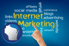 wi map icon and internet marketing phrases