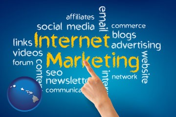 internet marketing phrases - with Hawaii icon