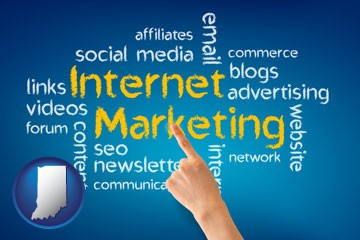 internet marketing phrases - with Indiana icon
