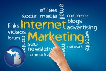 internet marketing phrases - with Michigan icon